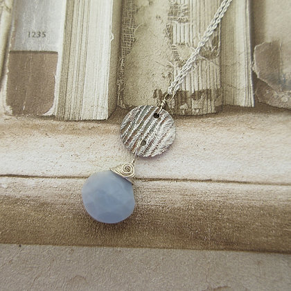 Handcrafted Silver,  Blue Opal Pendant