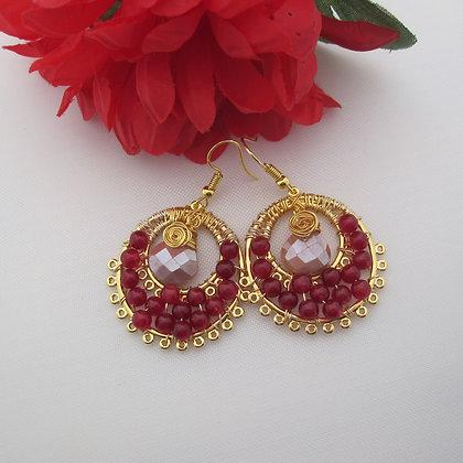 Moonstone and Red Quartz Earrings