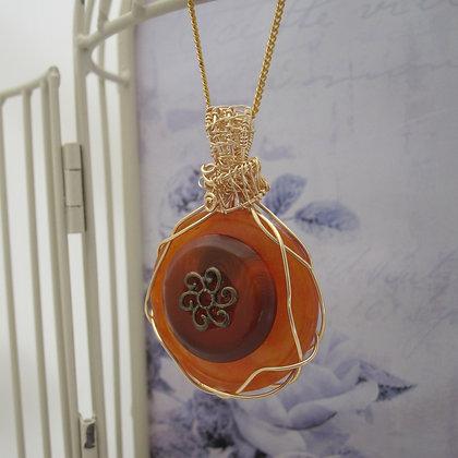 Vintage Button Necklace, Orange