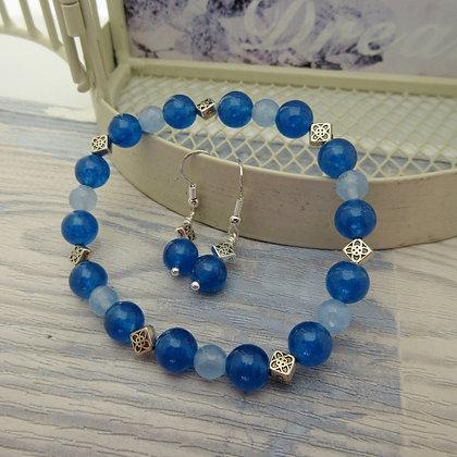 Gemstone Gift Set - Earrings and Bracelet, Blue Quartz, Celtic Style