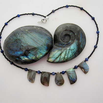 Labradorite Necklace, one of a kind, made in Scotland