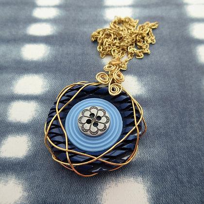 Blue Vintage Button Necklace