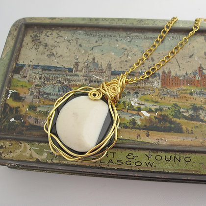 Vintage Button Necklace, Monochrome, Moon Pendant