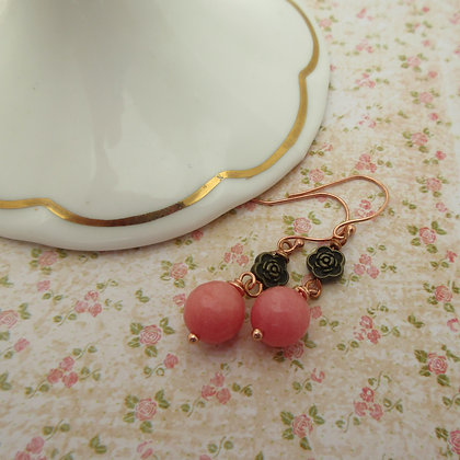 Pink Gemstone Earrings, Gift for Her