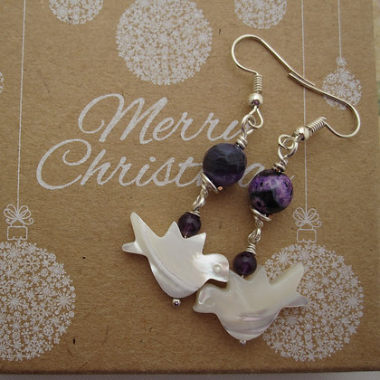 Peace Dove Gemstone Earrings - Purple and Black Agate