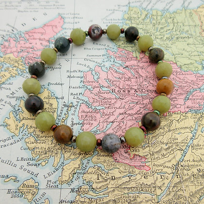 Gemstone Bracelet, Green Jasper and Quartz