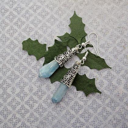 Frozen Earrings, Blue Quartz, Celtic Style