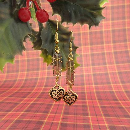 Smokey Quartz, Celtic, Heart, Drop Earrings