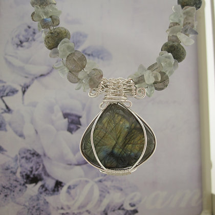 Seafoam Necklace with Labradorite and Fluorite