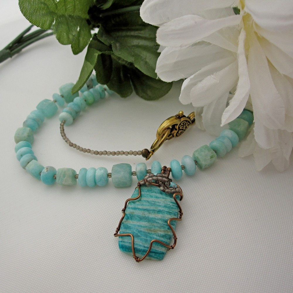One of a Kind necklace by Indigo Berry featuring Amazonite and Smokey Quartz