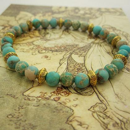 Gemstone Bracelet, Celtic Style, Variscite