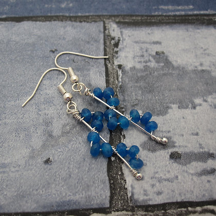 Blue Quartz Wave Earrings
