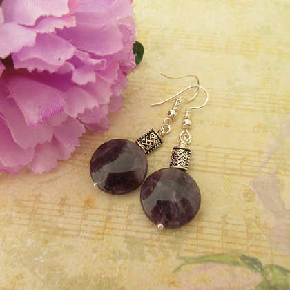 Amethyst Earrings, Celtic Style, Gift For Her