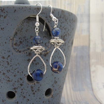 Friendship Earrings with Lapis Lazuli and Jasper, Silver Plated