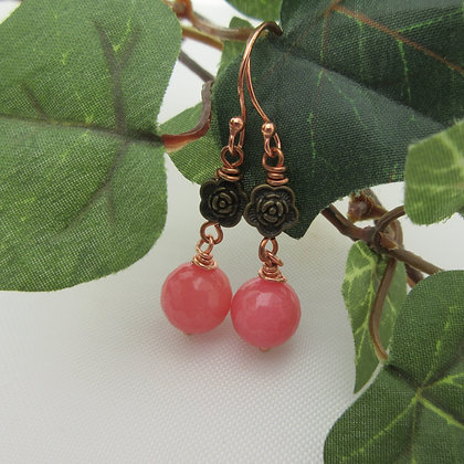 Pink Gemstone Earrings, Gift for Her