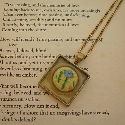 Forget me Not Flower Vintage Button Pendant Necklace