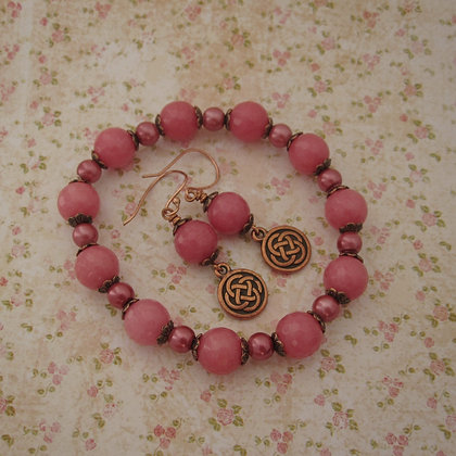 Gemstone Gift Set - Earrings and Bracelet, Celtic, Rose Pink Quartzite