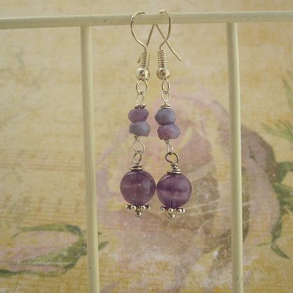Amethyst and Opal Earrings, Fairy Style, Sterling Silver