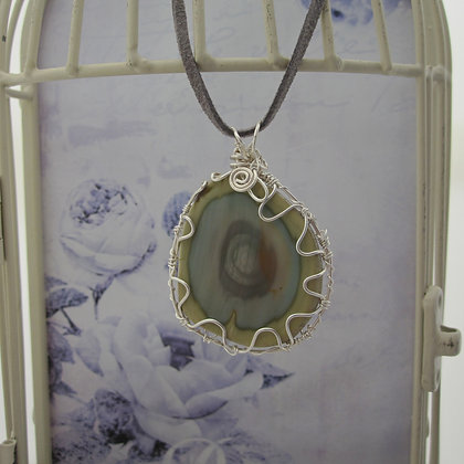 Imperial Jasper, Statement Pendant, Silver Plated