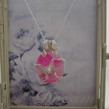 925 Sterling Silver Butterfly Necklace with Pink Agate