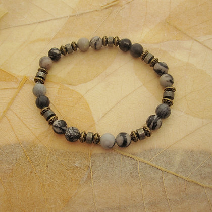 Gemstone Bracelet, Grey Jasper and Pyrite