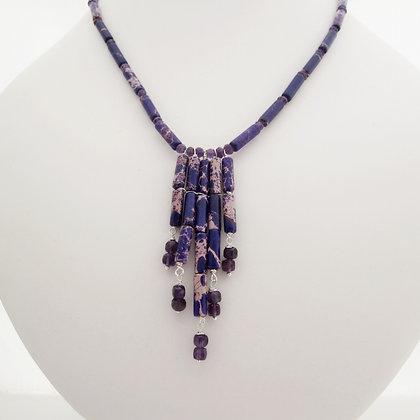 Purple Jasper and Amethyst Cascade Necklace