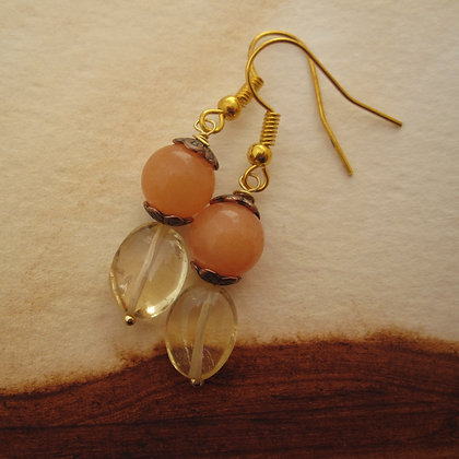 Citrine and Orange Quartz Earrings