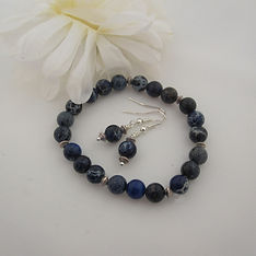 Blue Variscite Bracelet and Earrings Isl