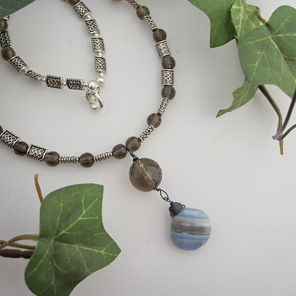 Smokey Quartz, Opal and Chalcedony, Celtic, Necklace