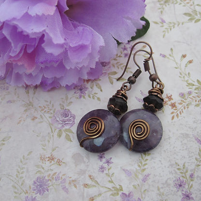Amethyst Coin Earrings with SQ and AC5.j