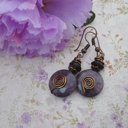 Amethyst Earrings, Antique Copper