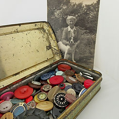 vintage buttons in tin with grandma 1000
