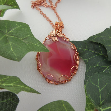 Fairy Style, Rose Gold, Pink Agate Pendant, One of a Kind, Gift for Her