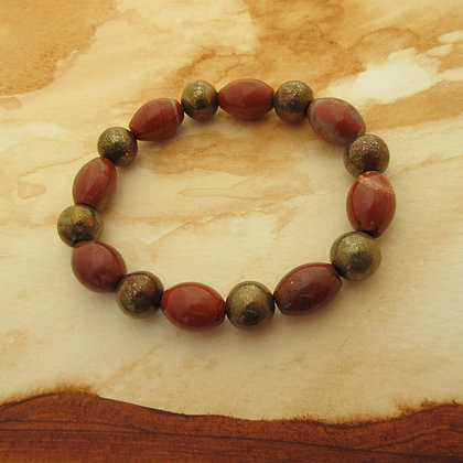 Gemstone Bracelet, Red Jasper and Pyrite