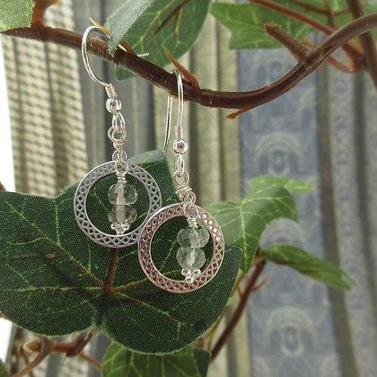 Celtic Earrings with Prasiolite, 925 sterling silver