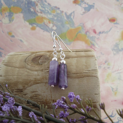 925 Sterling Silver Earrings with Amethyst