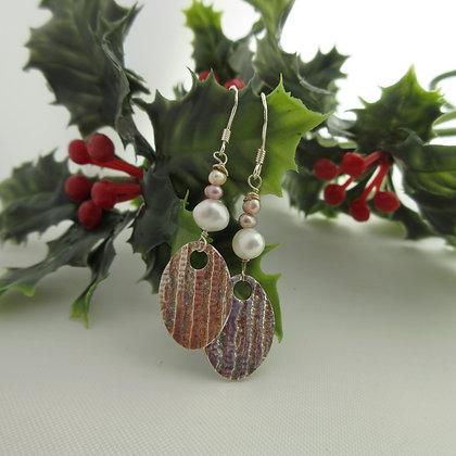 Handcrafted Silver, Pearl Drop Earrings