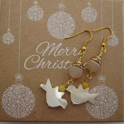 Peace Dove Gemstone Earrings - Frosted Druzy Agate