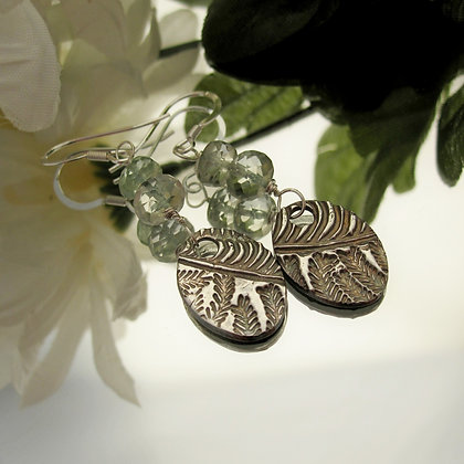 Handcrafted silver earrings with prasiolite