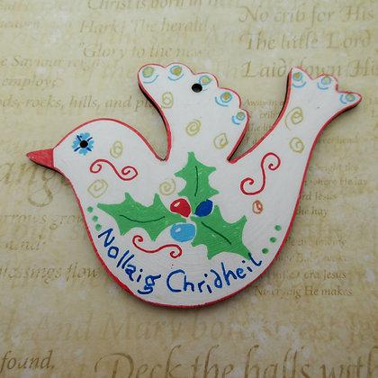 Hand-painted Wooden Decoration: White Dove with Gaelic Greetin