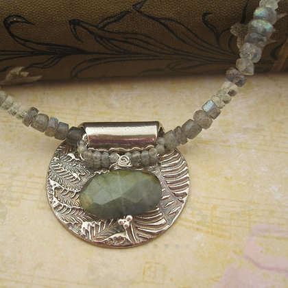 Handcrafted Silver Pendant Necklace with Labradorite