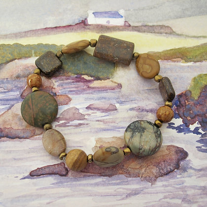 Gemstone Bracelet, Chunky Jasper and Bronzite
