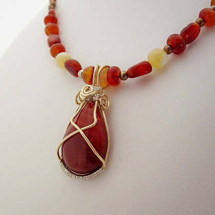 Red Onyx Wire Wrapped Necklace