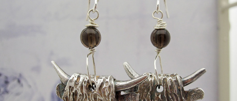 Handcrafted Silver Highland Cow Earrings