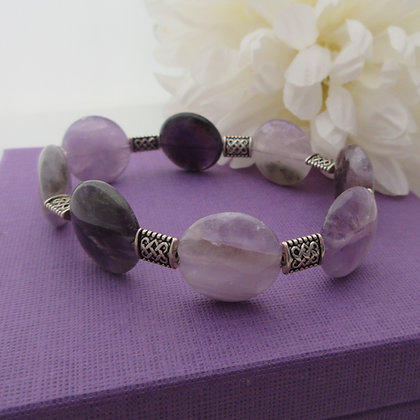 Gemstone Bracelet, Amethyst, Celtic Style