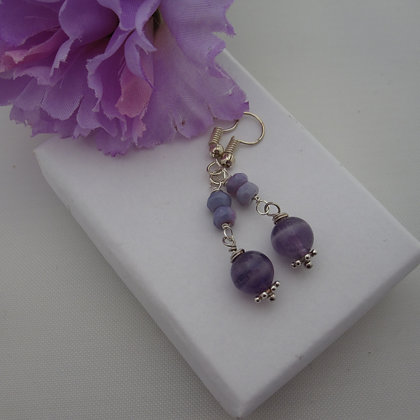 Amethyst and Opal Earrings, Fairy Style, Sterling Silver