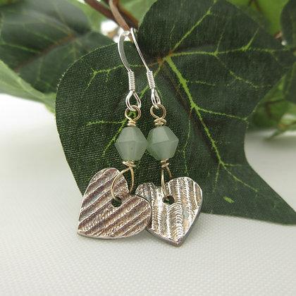 Handcrafted Silver,Heart Earrings, Aventurine