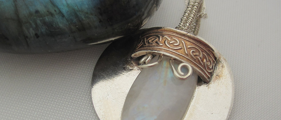 Handcrafted Silver Moonstone Celtic Pendant