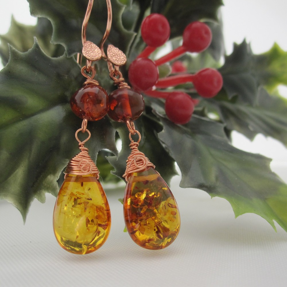 Amber Earrings with Rose Gold Plated Ear Wires by Indigo Berry