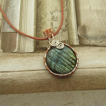 Labradorite Wire Wrapped Pendant Necklace